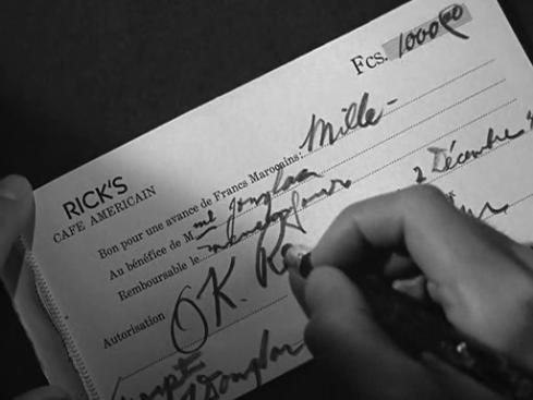 Rick Blaine\'s cheque
