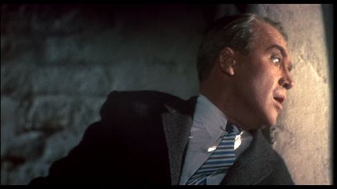 Scottie looks down from the tower in Vertigo (1958)